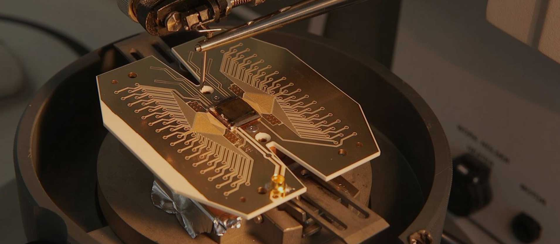Prototype of the core of a trapped ion quantum computer. Credit: Ion Quantum Technology Group, University of Sussex